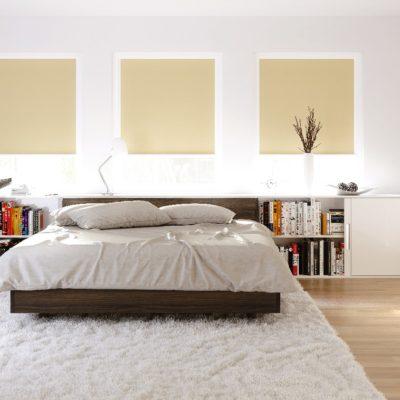 Rollos als Sicht- und Blendschutz in einem Schlafzimmer